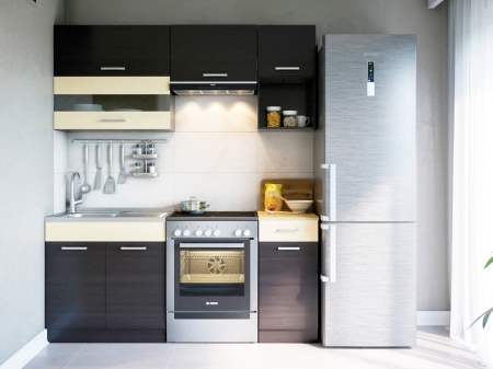 Кухня пряма Світ меблів Аліна матова (ДСП Венге темний + Венге світлий) 180 см