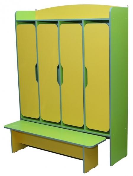 Шафа 4-дверна для роздягальні, з лавкою 1240х350х1610 мм