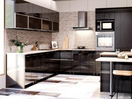 Кухня кутова Міромарк Б'янка (ДСП Глянець Чорний) 280х320 см