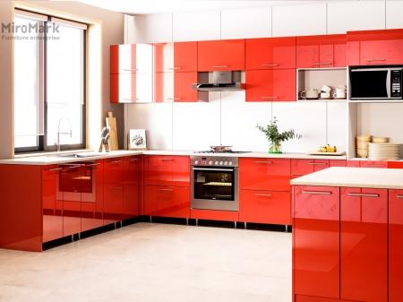 Кухня кутова Міромарк Б'янка (ДСП Глянець Червоний) 240х360 см