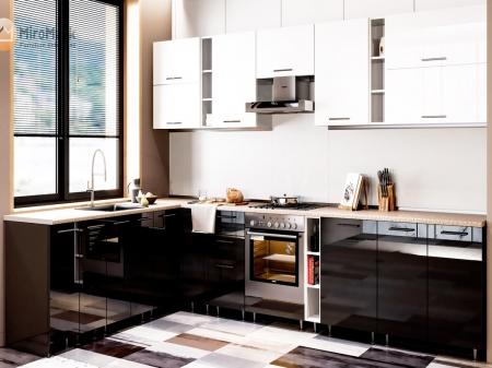 Кухня кутова Міромарк Б'янка (ДСП Глянець Чорний + Глянець Білий) 220х320 см