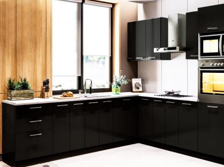 Кухня кутова Міромарк Б'янка (ДСП Глянець Чорний) 260х280 см