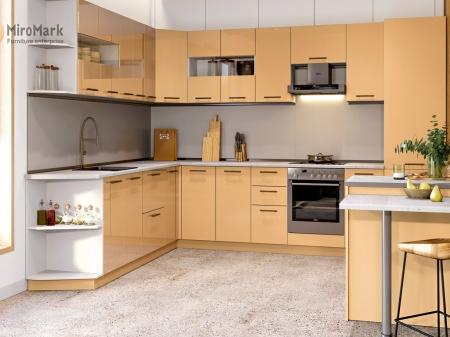 Кухня кутова Міромарк Б'янка (ДСП Глянець Ваніль) 250х340 см
