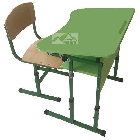 Комплект стіл учнівський 1-місний з полицею, з регулюванням кута нахилу стільниці №3-6 + стілець Т-подібний на квадратній трубіі, регулюється на ростові групи №3-5 Зелена Вода