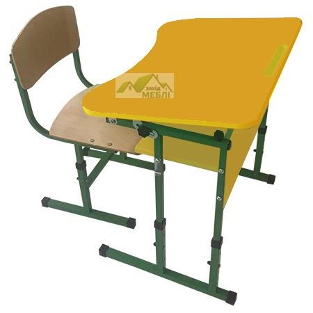Комплект стіл учнівський 1-місний з полицею, з регулюванням кута нахилу стільниці №3-6 + стілець Т-подібний на квадратній трубіі, регулюється на ростові групи №3-5 Жовтий