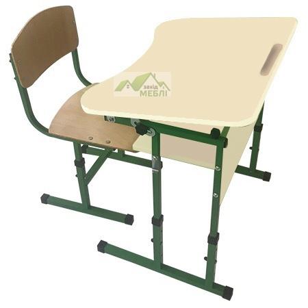 Комплект стіл учнівський 1-місний з полицею, з регулюванням кута нахилу стільниці №3-6 + стілець Т-подібний на квадратній трубі, регулюється на ростові групи №3-5 Жасмін