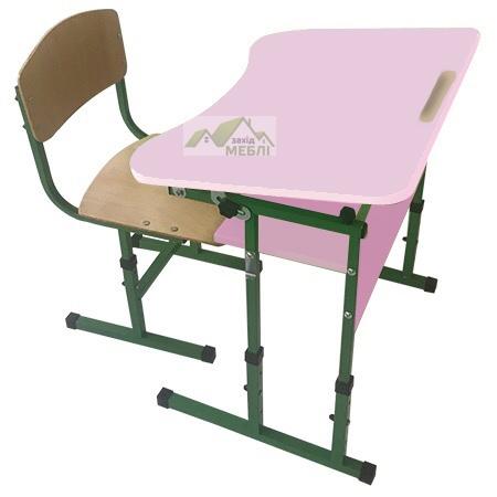Комплект стіл учнівський 1-місний з полицею, з регулюванням кута нахилу стільниці №3-6 + стілець Т-подібний на квадратній трубі, регулюється на ростові групи №3-5 Сакура