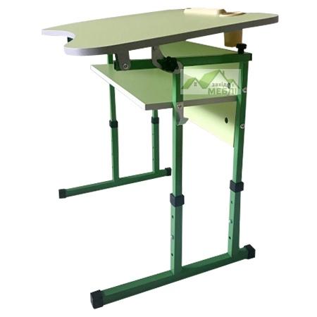 стіл учнівський 1-місний з полицею, з регулюванням кута нахилу стільниці №3-6 + стілець Т-подібний на квадратній трубіі, регулюється на ростові групи №3-5  Зелена ВОда