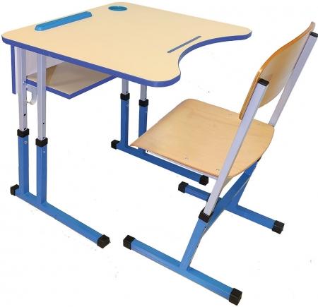 Комплект одномісний. Стіл учнівський антисколіозний та стілець з регулюванням нахилу стільниці (квадратна труба)