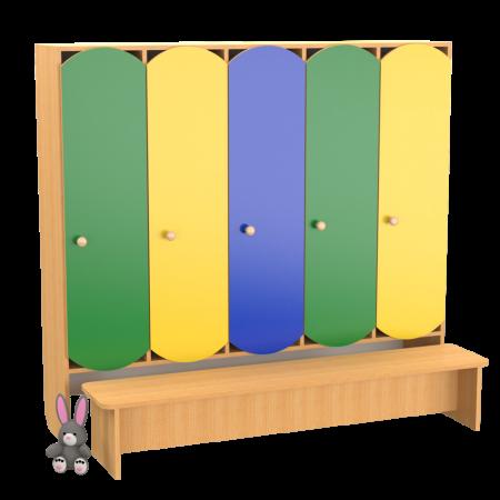 Шафа дитяча 5-секційна для роздягальні з лавочкою (кольорова)